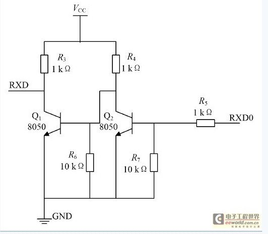 9vttl电平,不能直接与atmega16相连,所以如图3电平转换电路所示,在rxd